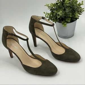 Nine West | Charcoal Suede T-Strap Heels, 11